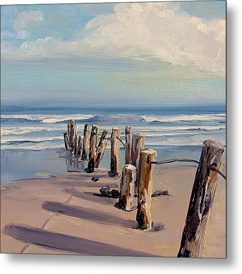 Posts Just Touch The Water Metal Print by Dianna Poindexter