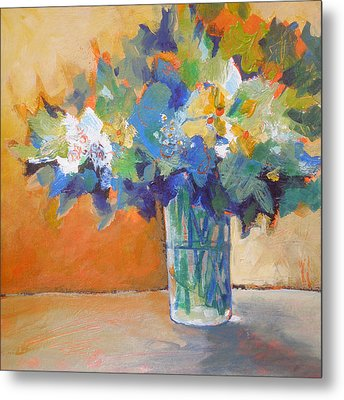Posy In Orange And Blue Metal Print