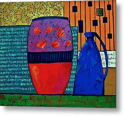 Pot Aux Tulipes Rouges Metal Print by Mirko Gallery