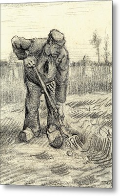 Potato Gatherer Metal Print by Vincent Van Gogh