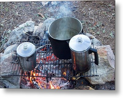 Pots On A Camp Fire Metal Print by Jim West