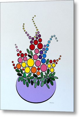 Potted Blooms - Lavendar Metal Print by Thomas Gronowski