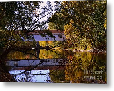 Potter's Covered Bridge Reflection Metal Print