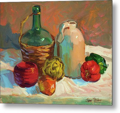 Pottery And Vegetables Metal Print