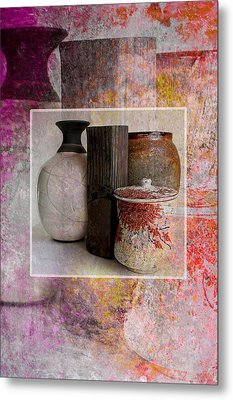 Pottery With Abstract Metal Print