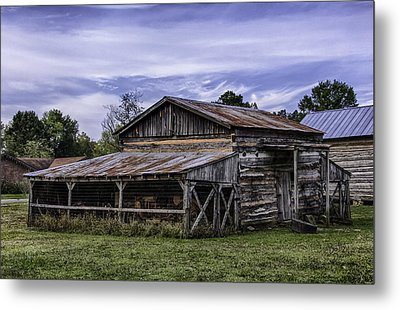 Metal Print featuring the photograph Pottsville Arkansas Historic Log Barn by Betty Denise