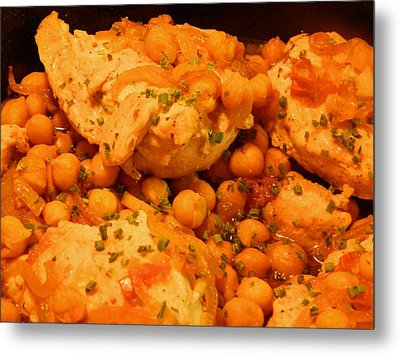 Metal Print featuring the digital art Poulet Aux Pois Chiches Avec Harissa by Aliceann Carlton