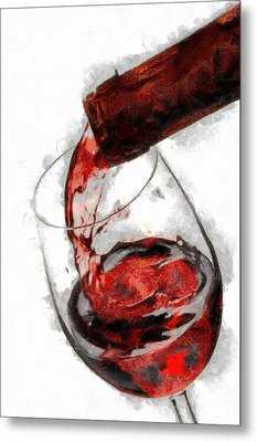 Pouring Red Wine Metal Print by Georgi Dimitrov