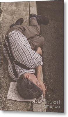 Poverty Stricken Newspaper Boy Metal Print by Jorgo Photography - Wall Art Gallery