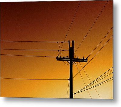 Power Line Sunset Metal Print