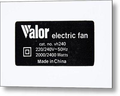 Power Supply Label Metal Print
