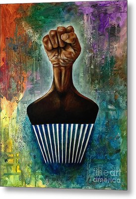 Power To The Afro Pick Metal Print by Ka-Son Reeves