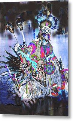 Powwow Dancer In Warrior Regalia Metal Print