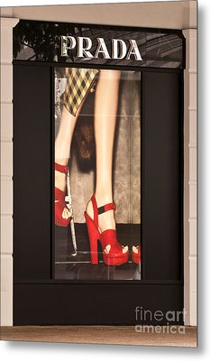 Prada Red Shoes Metal Print