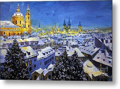 Prague After Snow Fall Metal Print