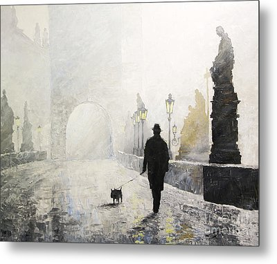 Prague Charles Bridge Morning Walk 01 Metal Print