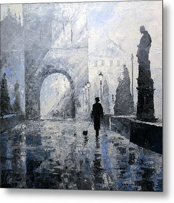Prague Charles Bridge Morning Walk Metal Print