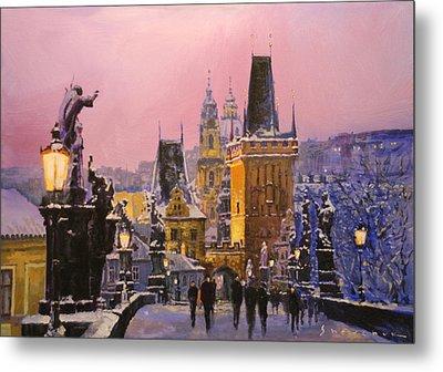 Prague Charles Bridge  Winter Evening Metal Print
