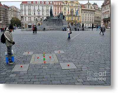 Man In Prayer At Prague Plaza Metal Print