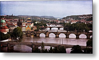 Prague Cityscape - Texture Metal Print by Barry O Carroll