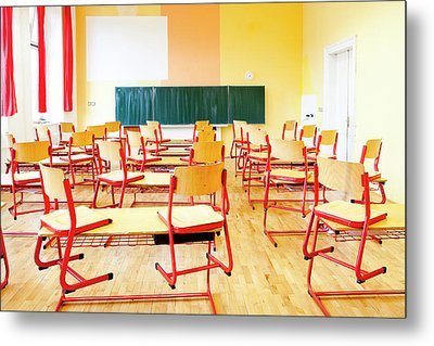 Prague - Empty Classroom At State Metal Print by Panoramic Images