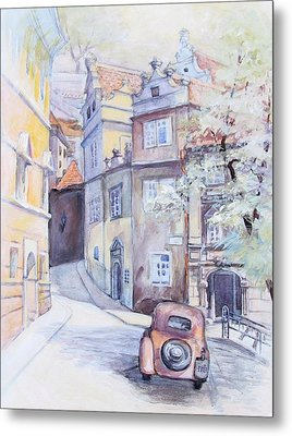 Prague Golden Well Lane Metal Print