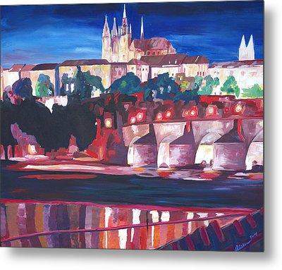 Prague - Hradschin With Charles Bridge Metal Print by M Bleichner