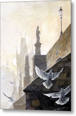 Prague Morning On The Charles Bridge  Metal Print by Yuriy Shevchuk
