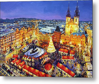 Prague Old Town Square Christmas Market 2014 Metal Print by Yuriy Shevchuk