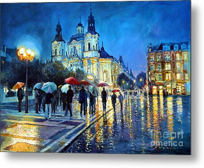 Prague Old Town Square  View Of Street Parizska And St.nicolas Church Metal Print by Yuriy Shevchuk