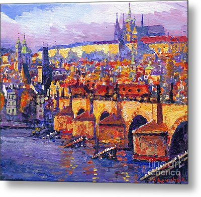 Prague Panorama Charles Bridge 06 Metal Print