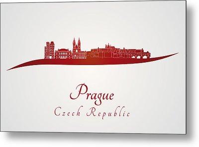 Prague Skyline In Red Metal Print