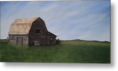 Metal Print featuring the painting Prairie Barn by Jesslyn Fraser