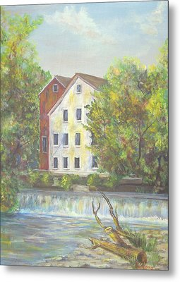 Metal Print featuring the painting Prallsville Mill From Waterfall by Luczay