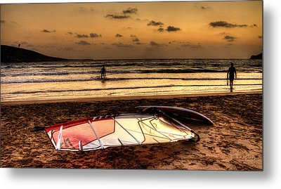Metal Print featuring the photograph Prasonisi - A Day Of Windsurfing Is Over by Julis Simo