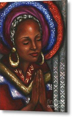 Metal Print featuring the pastel Pray With Me by Alga Washington