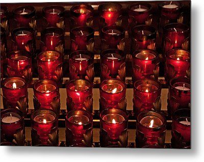 Prayer Candles Metal Print by Suzanne Stout