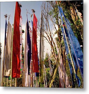 Prayer Flags At A Buddhist Monastery Metal Print by Jaina Mishra
