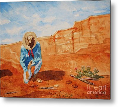 Metal Print featuring the painting Prayer For Earth Mother by Ellen Levinson