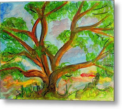 Prayer Mountain Tree Metal Print