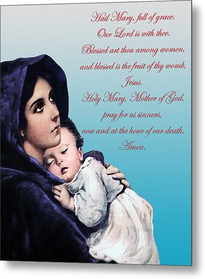 Metal Print featuring the digital art Prayer To Virgin Mary by A Samuel