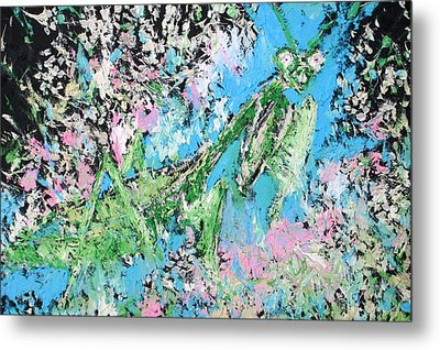 Praying Mantis In The Flowers - Oil Painting Metal Print by Fabrizio Cassetta