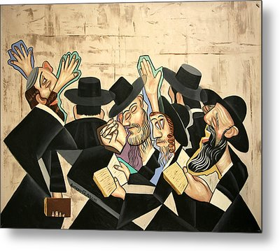 Praying Rabbis Metal Print by Anthony Falbo