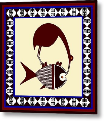 Metal Print featuring the digital art Pre-columbian Stork Fish by Vagabond Folk Art - Virginia Vivier