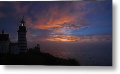 Pre Dawn Lighthouse Sentinal Metal Print by Marty Saccone