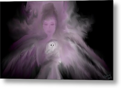 Precious Owl Angel Metal Print