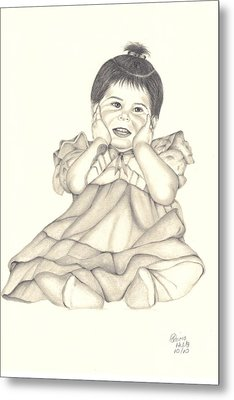 Metal Print featuring the drawing Precious by Patricia Hiltz