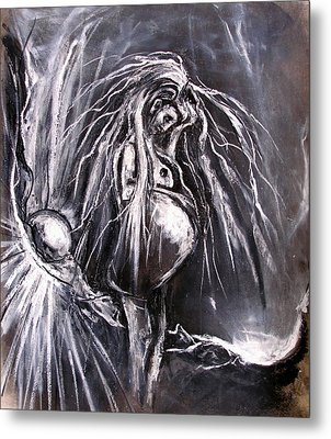 Pregnant Girl In Apocalyptic Landscape Metal Print