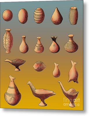 Prehistoric Clay Rattles Bronze Age Metal Print by Photo Researchers