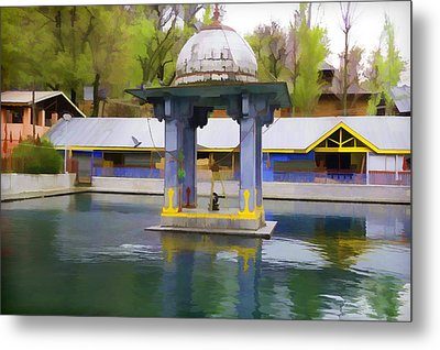 Premises Of The Hindu Temple At Mattan With A Water Pond Metal Print by Ashish Agarwal